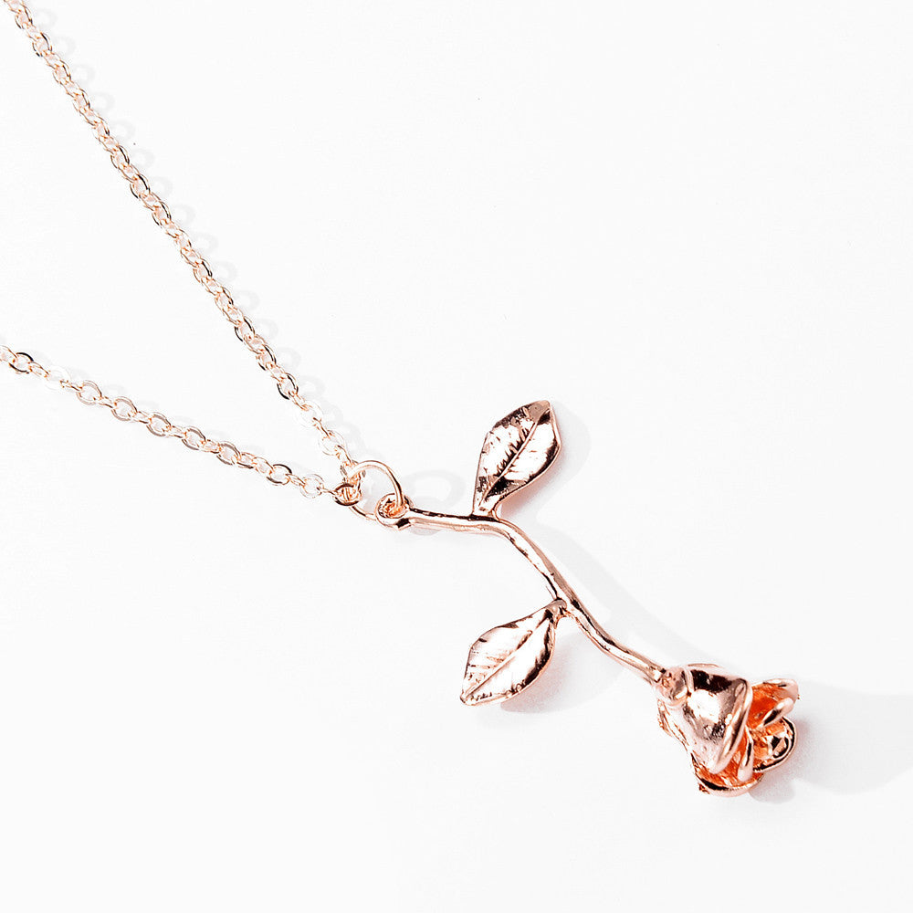 Blushing Rose Gold Rose Necklace