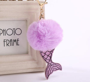 Poof Mermaid Tail Keychain