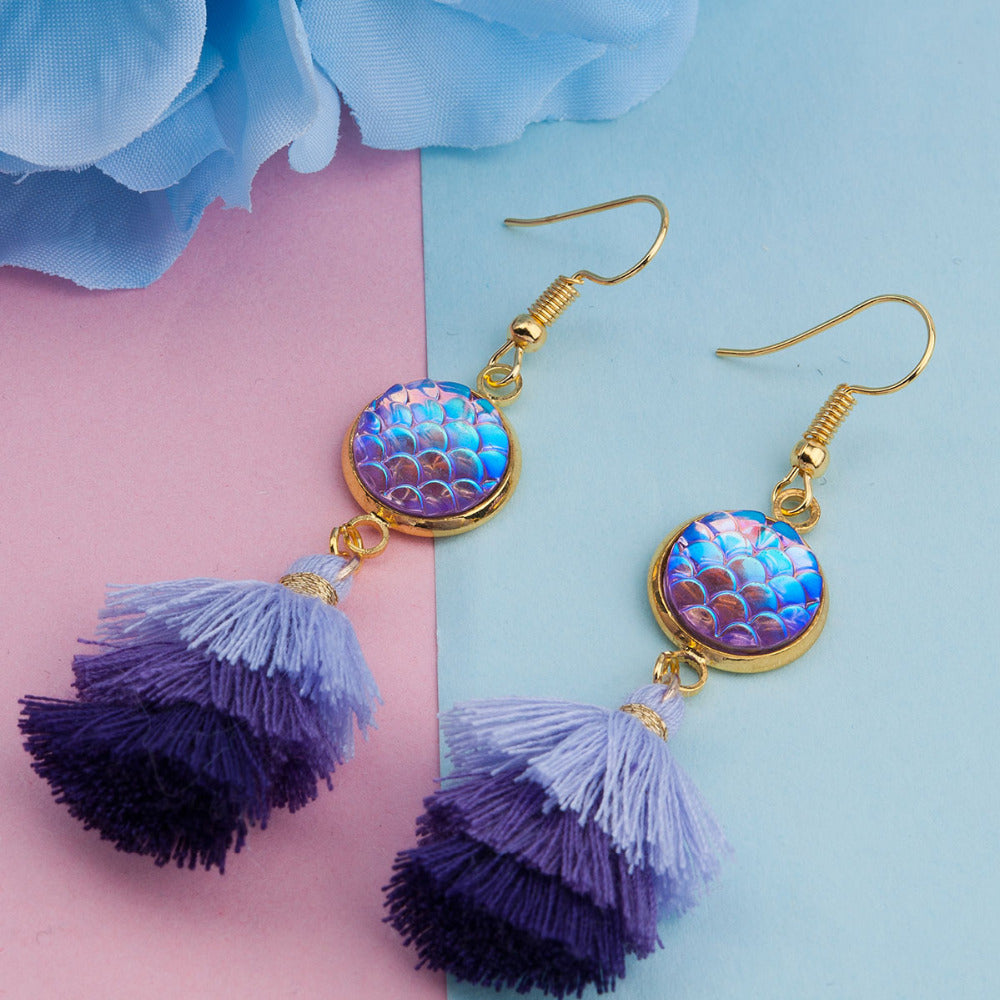 Dangling Boho Mermaid Scale Earrings