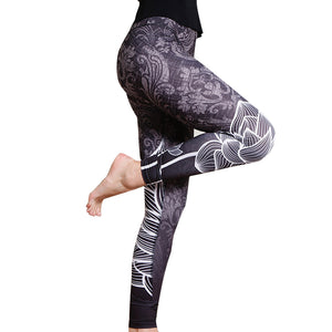 New Printing Stitching Leggings Hip Elastic Waist Slim Leggins Breathable Pants