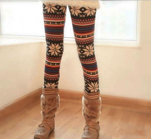 Thin Colorful Crystal Pattern Snowflakes Leggings Slim Knit Legging Feminina Pants Leggins WADL09