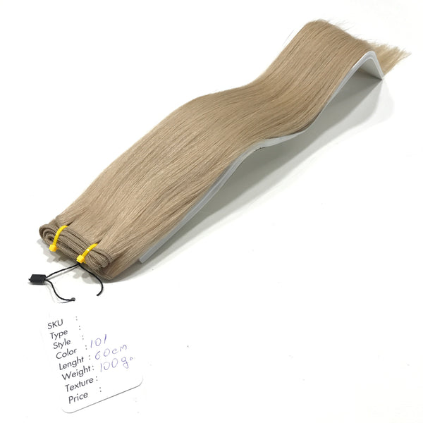 Weft Hair Extensions Human Hair #101 Swiss Butter Cream