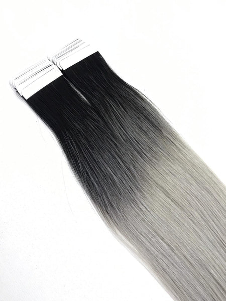 Black Grey Ombre Tape in Hair Extensions