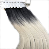 Black Silver Ombre Tape in Hair Extensions