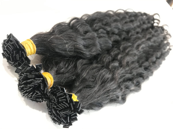 Keratin Tip Hair Extensions Curly Human Hair Color #1B Naturel Black