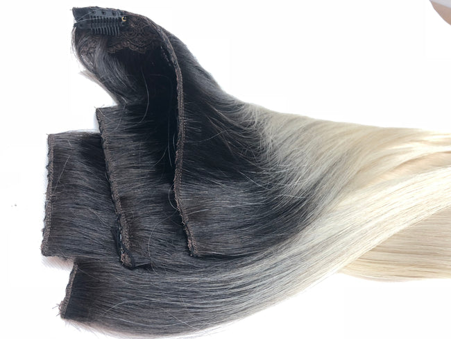 Ombre #1-Grey Clip In Hair Extensions