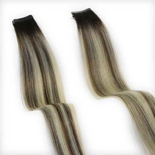 Ombre Balayage Tape In Hair Extensions 1B/18 Ash Blonde Piano Color