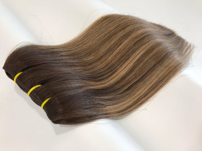 Weft Hair Extensions Human Hair Color #6 -#10 #16 Tree Tone Ombré Balayage