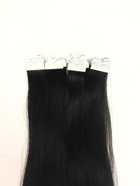 Black color tape in hair extensions