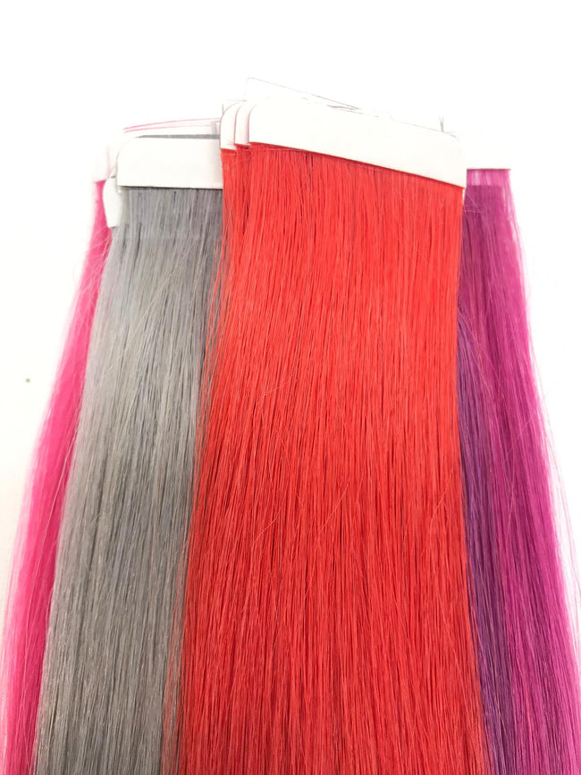colorful tape in hair extensions