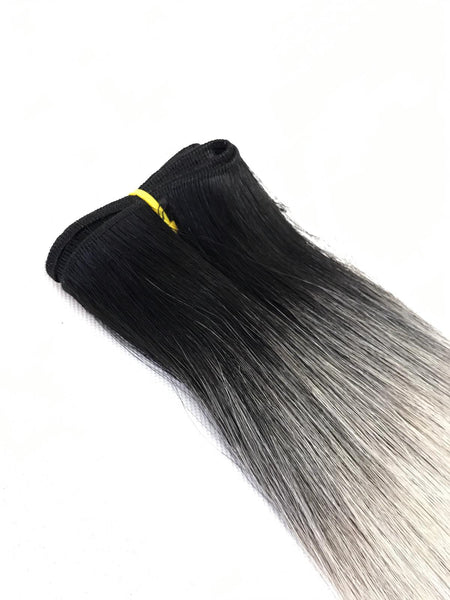 Weft Hair Extensions Human Hair Color #Black-Silver Ombre
