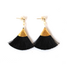 BLACK | FAN TASSEL EARRINGS - Bohome + Roam