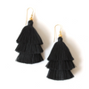BLACK | TIERED TASSEL EARRINGS - Bohome + Roam