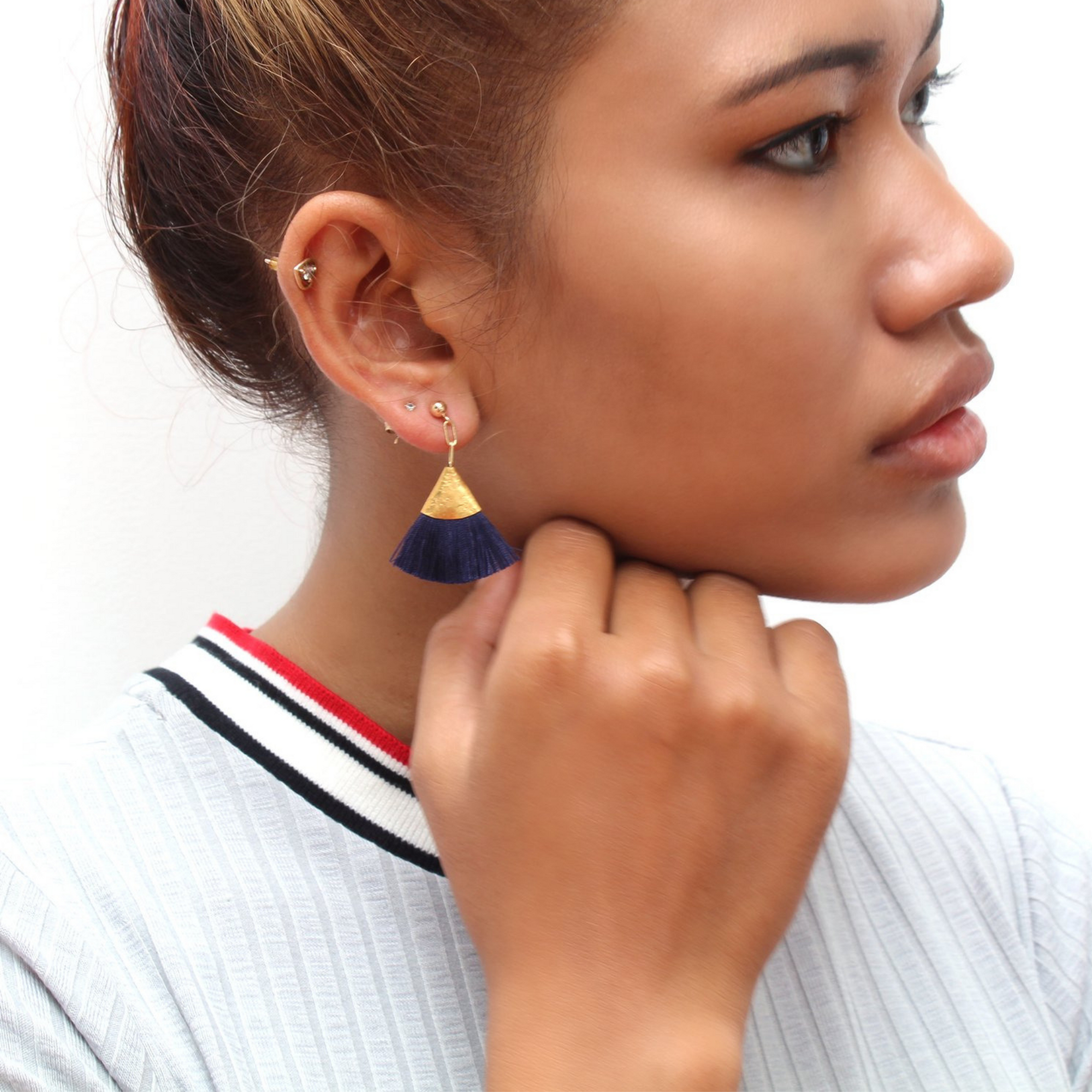 NAVY | FAN TASSEL EARRINGS
