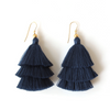 NAVY | TIERED TASSEL EARRINGS - Bohome + Roam