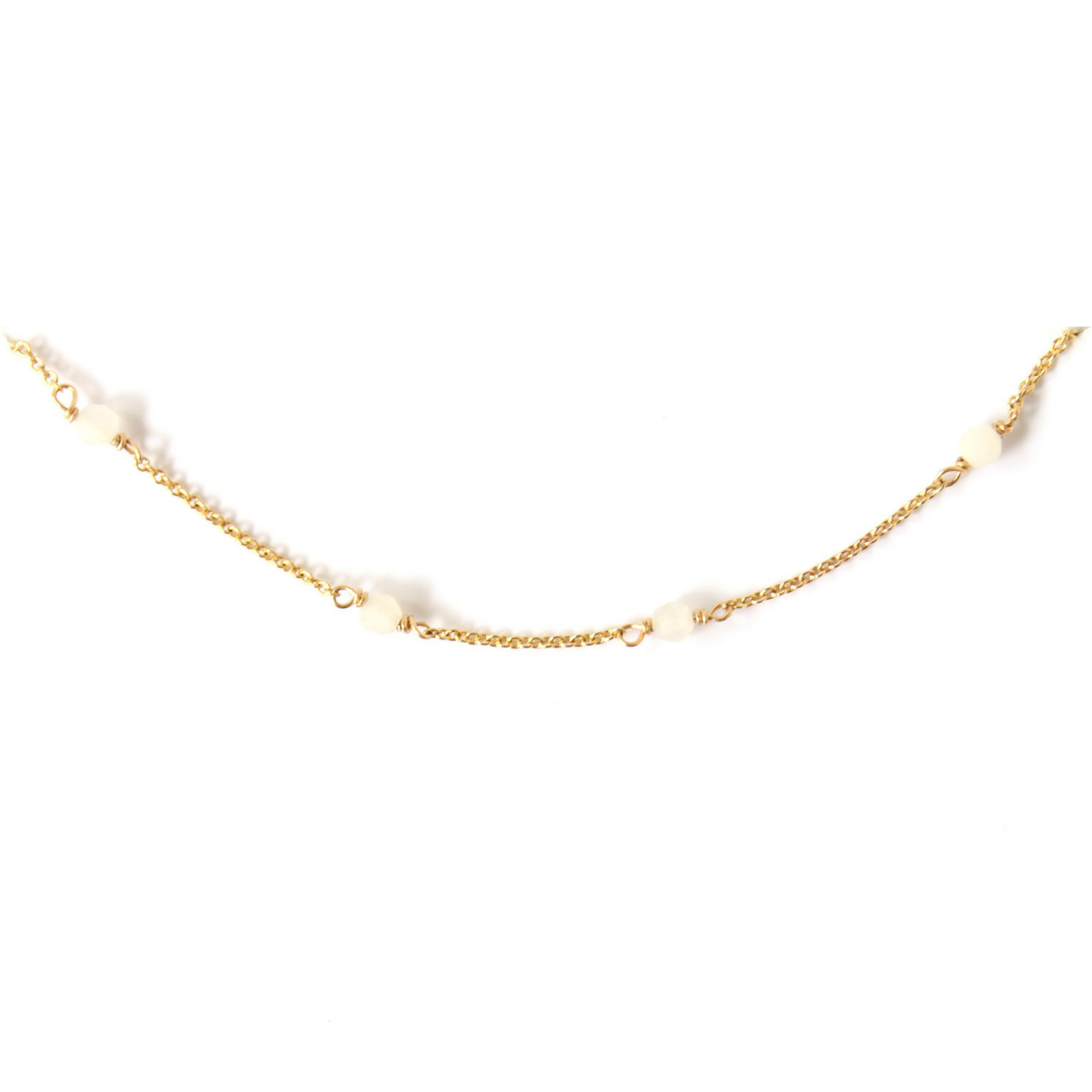 PEACE | WHITE JADE GOLD CHOKER