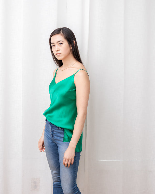 Worry-Free Silk Cami - Emerald Green