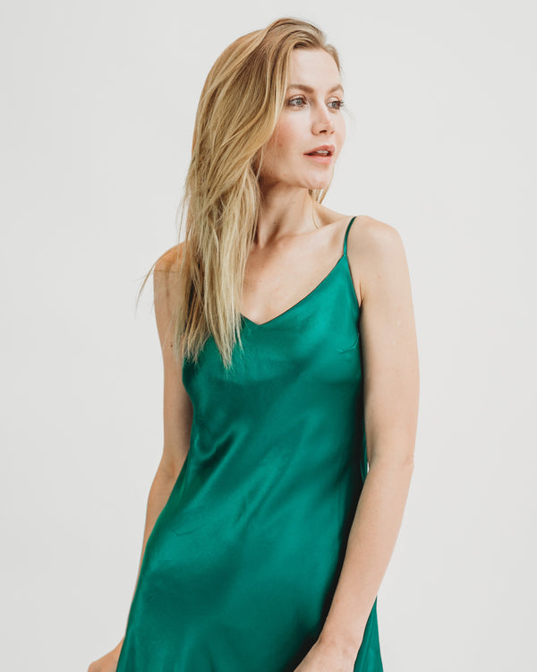 Worry-Free Silk Slip - Emerald Green