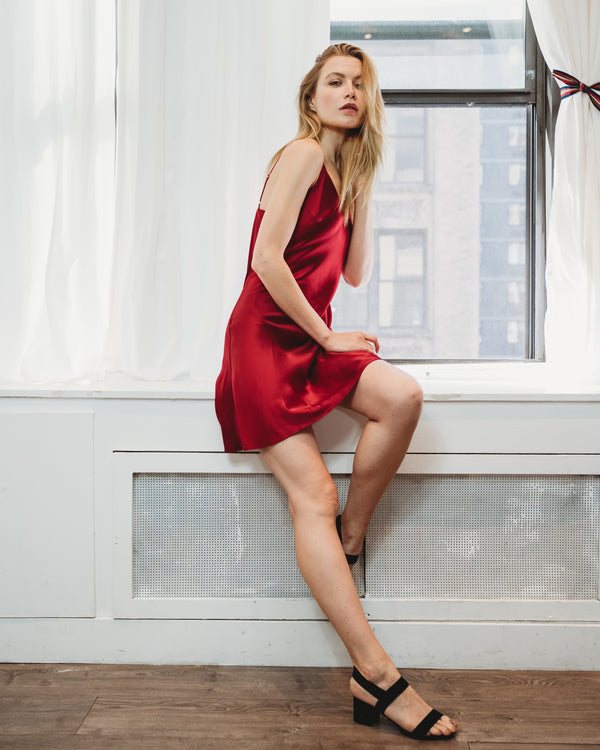 Worry-Free Silk Slip - Ruby Red