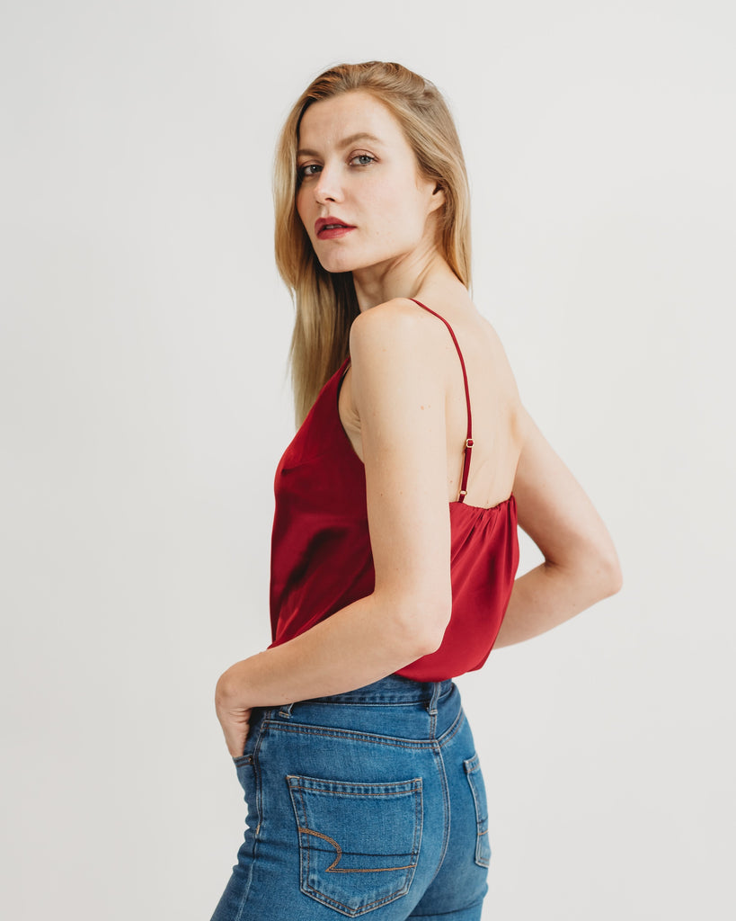Worry-Free Silk Cami - Ruby Red