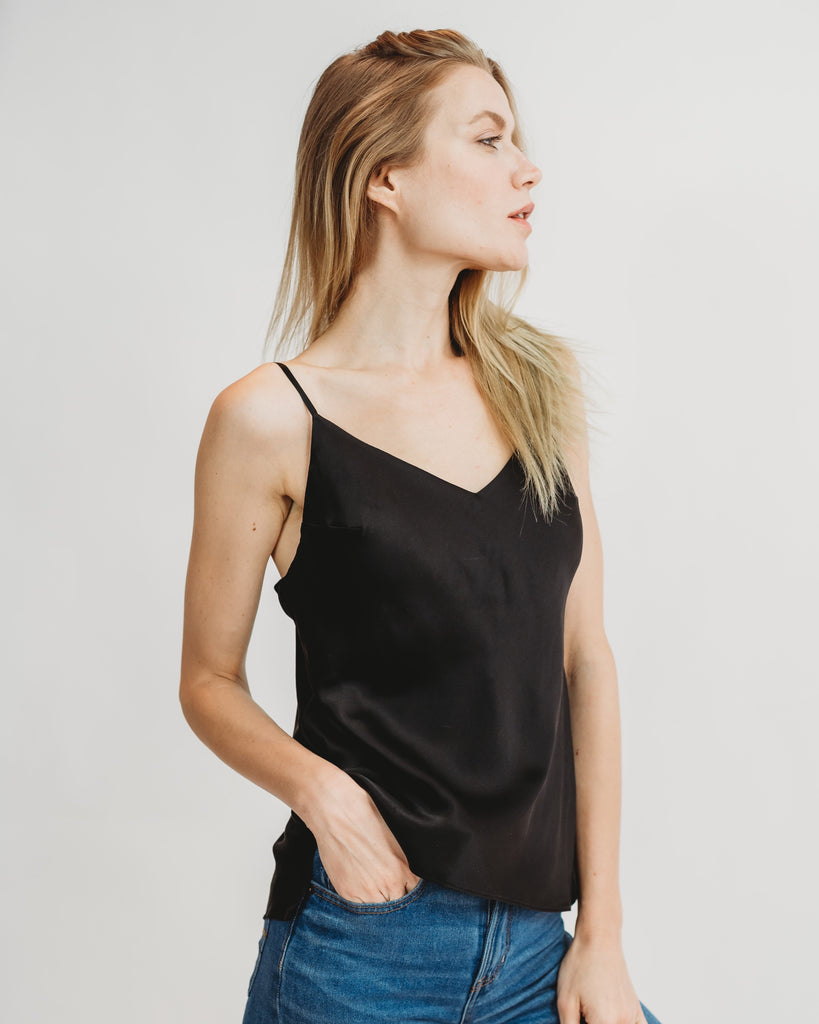 Worry-Free Silk Cami - Midnight Black