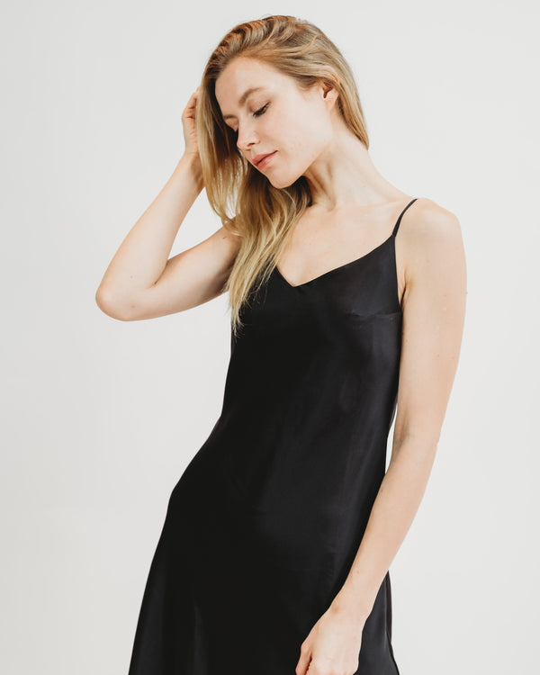 Worry-Free Silk Slip - Midnight Black