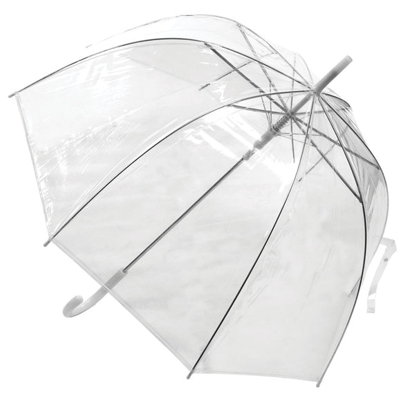 VISION CLEAR WHITE TRIM DOME UMBRELLA