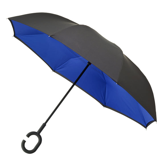 BLACK AND BLUE C HANDLE INSIDE OUT UMBRELLA