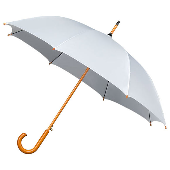 CROOK HANDLE WOOD STICK WHITE WEDDING UMBRELLA
