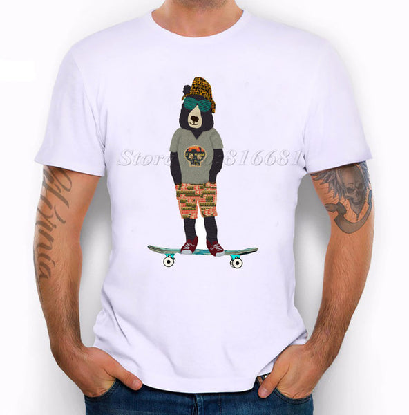 New 2017 Summer Fashion Summer Relax Scooter Bear Design T Shirt Men's High Quality Custom Printed Tops Hipster Tees pa754