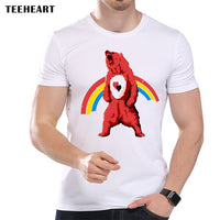 TEEHEART Men's Rainbow Color Bear Printed T shirt Cool Tops Short Sleeve Animal Design Hipster Cool Tees la477