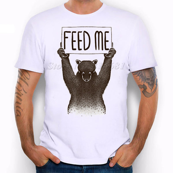 2017 New Arrival Letter Feed Me Bear printed Men's Casual T-shirt Male Animal Tops Tee pb050