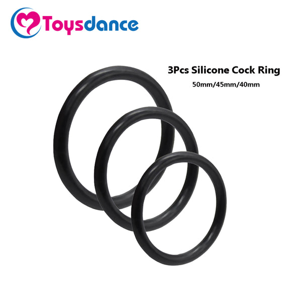 Toysdance 3Pcs European Size Silicone Cock Rings Adult Sex Toys Flexible Lasting Penis Ring Erotic Sex Products For Men Diameter