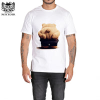 Rocksir the missing cute Bear house Print Men's White T shirt Summer Short Sleeve Shirts Tops Big Size Cotton Tees