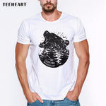 2017 Custom Men Wild Bear  T-shirt Short Sleeve Retro Nature Animal Printed Tee Shrits Hipster Basic Tops