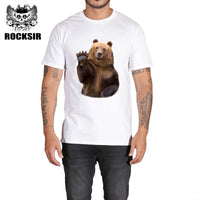 Rocksir 2017 fashion short Bear printed Funny t-shirt men tops hot sales men's summer white tees cotton anime brand t-shirt