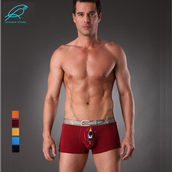 8a6b32317976 Men's Underwear Boxer Trunks Fancy Sex Underpant Gay Erotic Cuecas Shorts  Bear Bird Belt Cute Panties