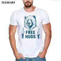 Cheapest Men Customized T-shirt Free Hugs Letter Printed Tops Cute Bear Animal Design Short Sleeve Hipster Funny Cool Tee