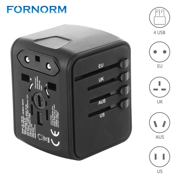 FORNORM Universal Travel Adapter All-in-one International Travel Charger 5V 2.4A 4 USB Ports Wall Charger for US/EU/AUS/UK