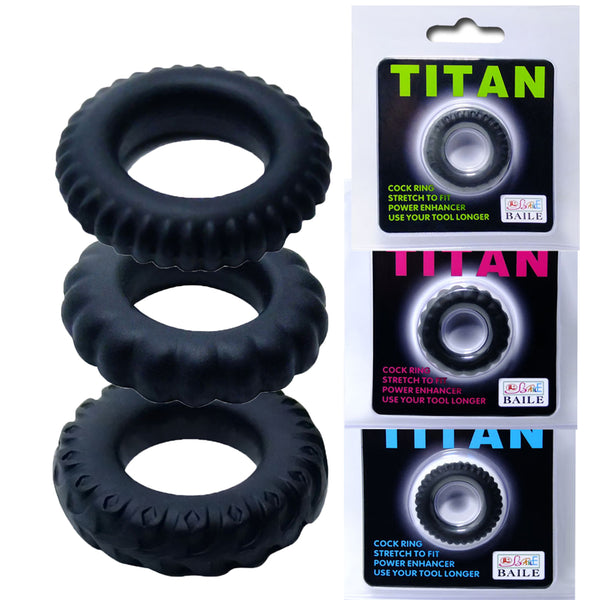 BAILE 3Pcs Silicone Tires Penis Rings For Men Adult Novelty Sex Toys Flexible Power Lock Cock Ring Penis Sleeve Sex Products