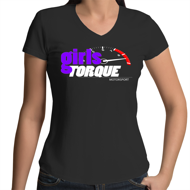 2. Womens V-Neck T-Shirt - Girls Torque