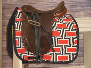 Red, White Black Geometric Dressage Saddle Pad