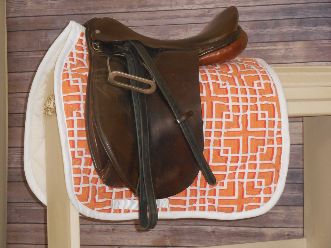 White and Orange Geo Dressage Saddle Pad