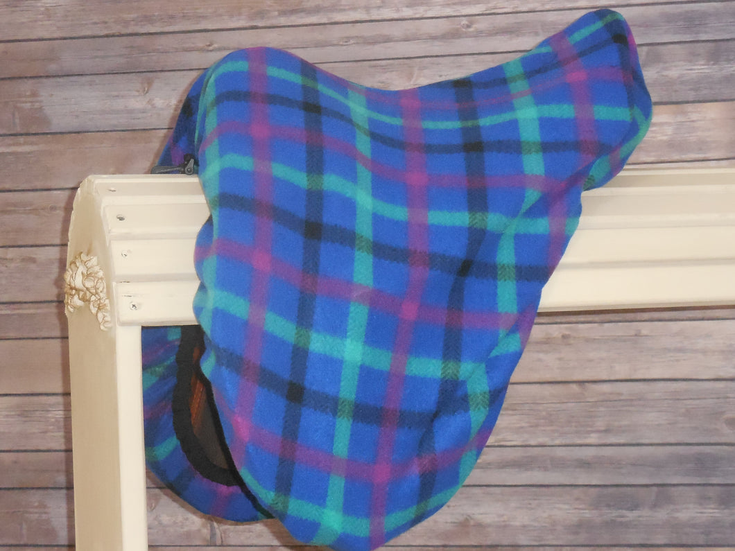 Electric Blue and Purple Plaid Fleece Saddle Cover