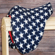 Patriotic Stars with RED Binding Fleece Saddle Cover