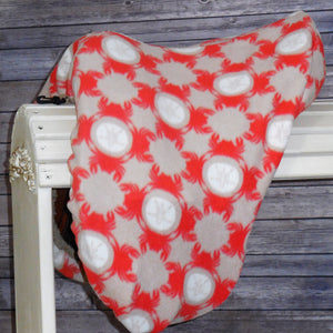 Orange Crabs and White Sand Dollars Fleece Saddle Cover