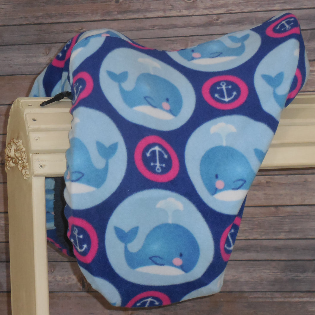 Blue & Pink Whales Fleece Saddle Cover