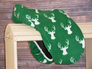 Kelley Green White Stags Fleece Saddle Cover