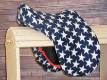 Patriotic Stars with  NAVY Binding Fleece Saddle Cover
