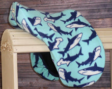 Teal Sharks! Fleece Saddle Cover